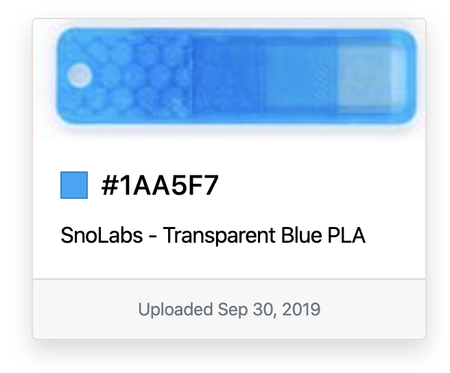An image showing Snolabs' Transparent Blue filament.